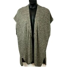 Eileen Fisher 2X sweater Cardigan Vest kimono black organic linen wool New $378