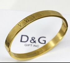 "NEW DG Gift Inc Unisex Stainless Steel Gold 7"" Roman Numerals Bangle + Box"