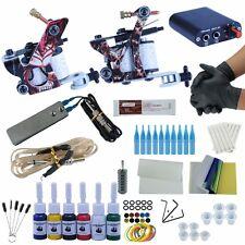 Tattoo Machine Rotary Kit Gun Shader Liner Supply Guns Set 2 Power Ink Complete