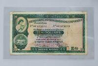1977 $10 TEN DOLLARS HONG KONG AND SHANGHAI BANKING CORPORATION BANKNOTE