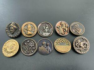 Lot of (10) Antique Vintage Metal Picture Buttons - BUTTON AUCTION #6