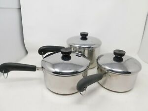 3 Revere Ware Sauce Pans Stainless Steel Disc Bottom With Lids 1.5 2 3 Qt  Pots