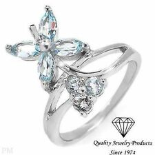 Beautiful Ring With 1.48ctw Genuine Topazes 925 Sterling Free Shipping