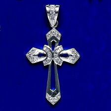 CZ Sterling Silver Cross  2 1/2 Inches Tall  .925 Pure Silver