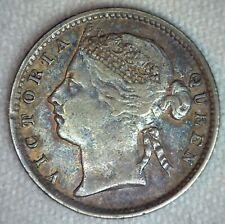 1889 Straits Colonies 10 Cents Pièce Argent XF Extra Fin Britannique Couronne