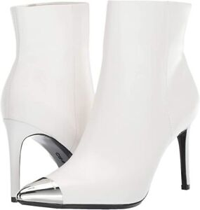 Calvin Klein Womens Ravie White Leather Pointed Steel Toe Ankle Boots Size 9.5 M