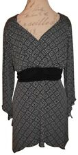 STUDIO 1948 Black Gray Geometric Diamond V-Neck Tie-Around Blouse Dress 18 / 20