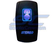 Blue Stereo Switch Music Polaris 12v 20a RZR RZR4 Crew Ranger 2015 1000 900 LE X