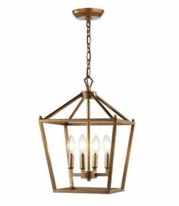 JONATHAN Y Pagoda 12 in. 4-Bulb Antique Gold Lantern Metal LED Pendant JYL7436B
