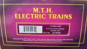 MTH ELECTRIC TRAINS FLAT CAR W/LOV SUBWAY CAR NIB