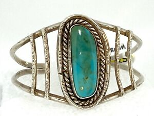 Handmade Turquoise Cuff Bracelet REAL SOLID .925 STERLING SILVER 23.1 g