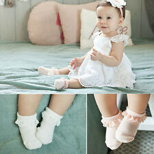 Fashion Baby Girls Lace White And Pink Socks Baby Lace Soft Cotton Socks  Z