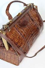 Vintage handbag Crocodile gladstone style shoulder bag large
