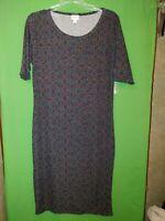 0956) NWT LULAROE large jersey knit pullover dress Julia midi floral black new L