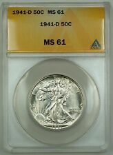 1941-D Walking Liberty Silver Half Dollar ANACS MS-61