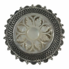 Vintage Jerusalem Sterling Silver Filigree Mother of Pearl Pin Brooch Pendant