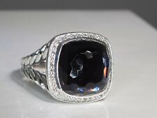 DAVID YURMAN ALBION 14MM BLACK ORCHID STERLING SILVER DIAMOND RING SIZE 7