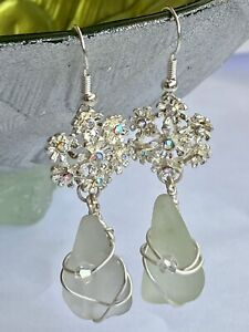 Beautiful Drop Dangle Occasion Earrings. Sea Glass and Crystal. Hand Made