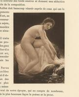 ANTIQUE ARTISTIC NUDE WOMAN BATHING FEET WATERFALL POND FLOWERS MINIATURE PRINT