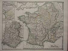 1850 SPRUNER ANTIQUE HISTORICAL MAP ~ FRANCE ISLAND OF BATAVI GAUL ALPS RHODANUS