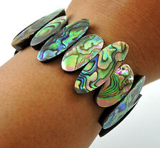 Natural Iridescent Abalone Shells Cuff Stretch Bracelet Handmade Jewelry FA044