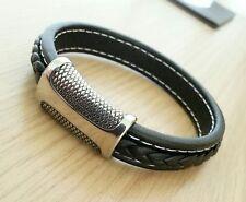 Men's Black Leather Bracelet ~ Designer Magnetic Clasp ~ £7.49 ~ 21cm