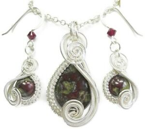 "Dragon Blood Jasper & Sterling Silver Wire-Wrapped ""Swish"" Necklace/Earring Set"