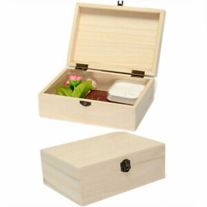 Storage Box Wooden With Lid Golden Lock Postcard Organizer Handmade Jewelry Case