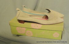 Fun Vintage 60's Mod Flat Chartreuse Green Suede Pixie Shoes Flats 6.5