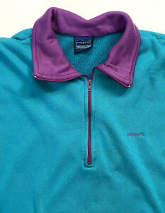 Patagonia Women's 1/4 Zip Pullover Sweater Capilene Large Aqua Purple Warm L/S