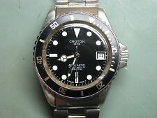 Croton Aquamatic Vintage Stainless Steel Dive Sport Wrist Watch