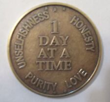 Recovery AA NA CA 1 Day at a Time Recovery Medallion tokens sobriety affirmation