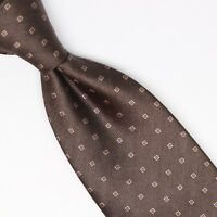 Gladson Mens Silk Necktie Brown Gold Blue Neat Squares Check Weave Woven Italy