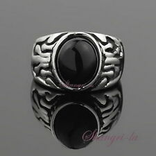 4157 VINTAGE Antique STL White GOLD GF BLACK Agate STONE Womens Costume RING Sz6