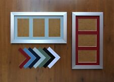 """Brushed Silver Finish Photo Frame with Triple 6x4/4x6""""Aperture Mount"""