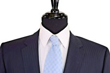 Hugo Boss Suit Size 44L In Dark Navy Blue With Tonal Pinstripes