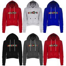 """Womens Ladies PARS """"R"""" US Print Fleece Crop Cropped Hood Hooded Hoody Sweatshirt"""