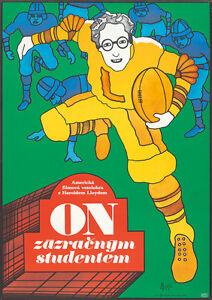 Original Vintage Poster The Freshman Harold Lloyd Film Movie Football College