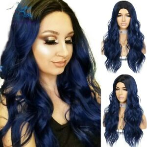 AU 24inch No Lace cosplay wigs Daily use Ombre Blue Synthetic hair