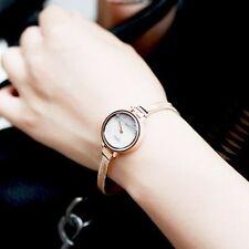 Waterproof Rose Gold Women's Rhinestone Strand Bracelet Band Quartz Watches