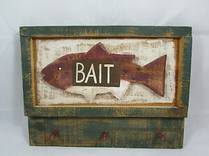 Wood Plank Rustic Fish Bait Wall Plaque Sign Storage with Pegs Decor Handmade