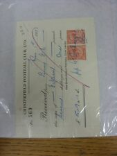01/03/1933 Chesterfield: Official Club Receipt Received From Bury, Autographed B