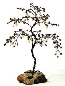 Jasper base Tiger's eye leaves Mother of Pearl fruits black trunk Gemstone Tree