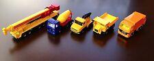 5 Vintage SIKU Lot - Refuse, Tipper, Tow Truck; Mega Lifter Crane; Cement Mixer