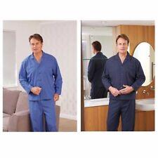 Men's Champion Henley Checked Polycotton Long Sleeve Pyjama Set M - XL Gift Navy Check 3152 3xl