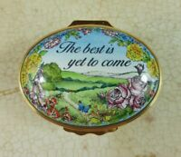 Halcyon Days Enamel The Best Is Yet To Come Floral Countryside Oval Trinket Box