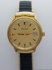 Reloj De Pulsera grande de hombre Vintage Bulova Fecha Dorado Vestido