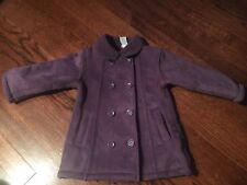 Toddler Girl Size 2 Year BabyGap Pea Coat Jacket Purple Soft Fleece
