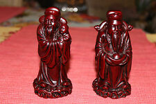 Superb Chinese Red Wood Carved Statues Religious Men-Pair-Long Beard-Marked