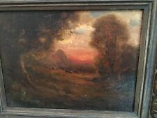 "American Luminist 19thC oil painting canvas indistinctly signed ""Twilight"" 14x17"